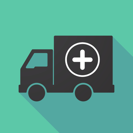 delivery truck: Illustration of a long shadow truck with a sum sign Illustration