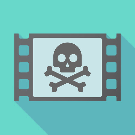 beware: Illustration of a long shadow film with a skull Illustration