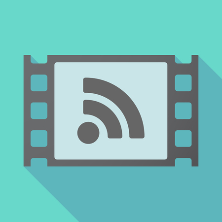 really simple syndication: Illustration of a long shadow film with an RSS sign Illustration