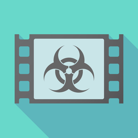 Illustration of a long shadow film with a biohazard sign