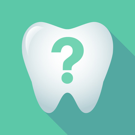 Illustration of a long shadow tooth with a question sign