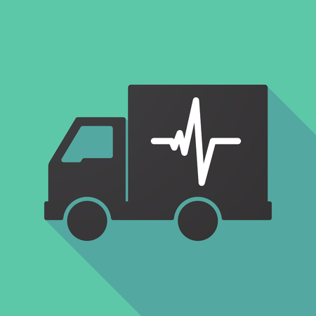 delivery truck: Illustration of a long shadow truck with a heart beat sign