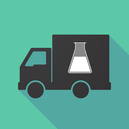 Illustration of a long shadow truck with a flask