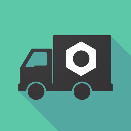 moving truck: Illustration of a long shadow truck with a nut