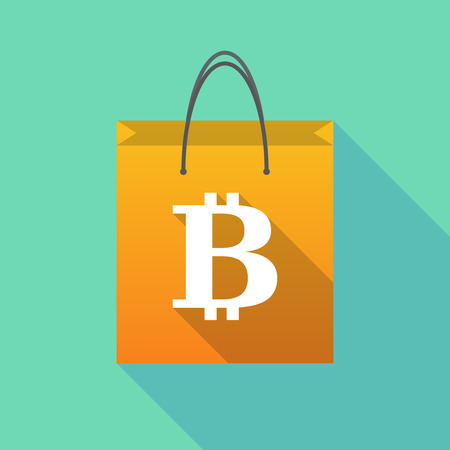 Illustration of a long shadow shopping bag with a bit coin sign