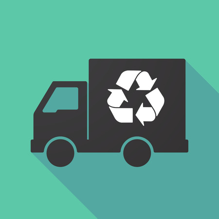 delivery truck: Illustration of a long shadow truck with a recycle sign
