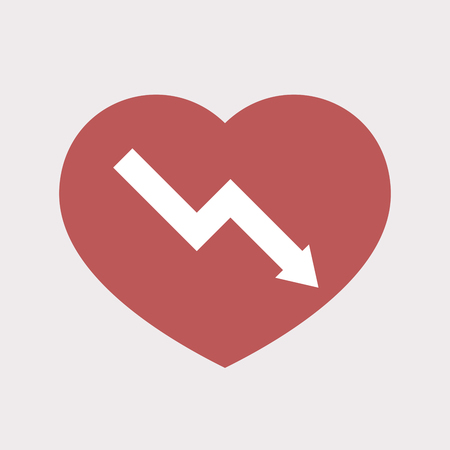 descending: Illustration of an isolated flat color red heart with a descending graph Illustration
