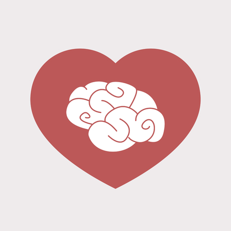 Illustration of an isolated flat color red heart with a brain
