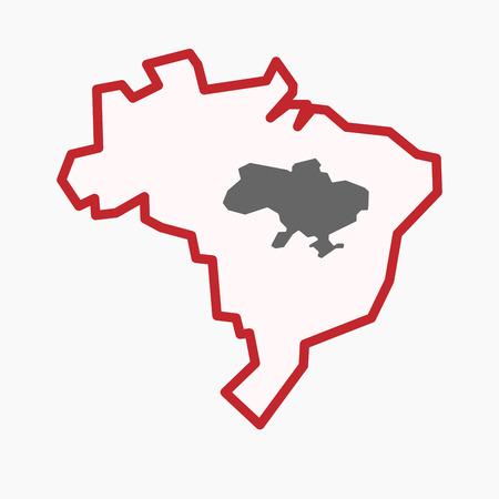 격리 된 라인 아트 그림 우크라이나지도 함께 브라질지도