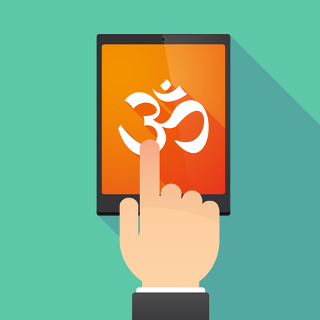 Illustration of a hand touching a tablet PC with an om sign Çizim