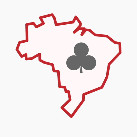 Illustration of an isolated line art Brazil map with  the  Club  poker playing card sign