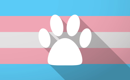 long: Illustration of a long shadow transgender flag with an animal footprint