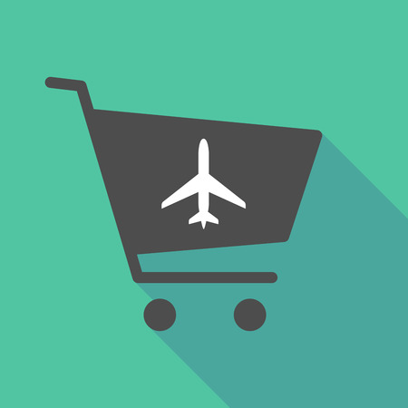 long: Illustration of a long shadow shopping cart with a plane
