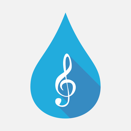 Illustration of an isolated blue water drop with a g clef Illustration