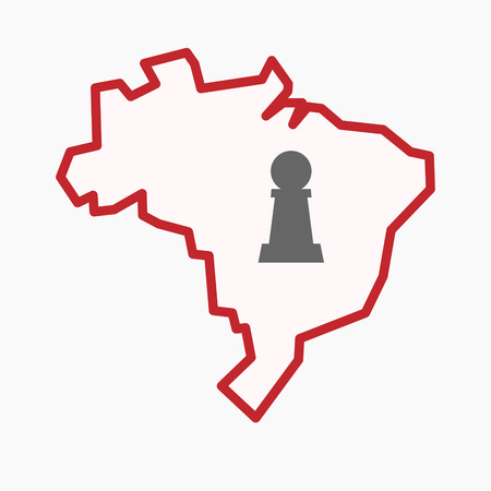 Illustration of an isolated line art Brazil map with a  pawn chess figure