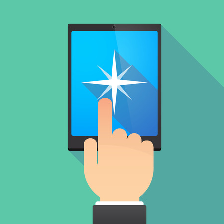 wireless: Illustration of a hand touching a tablet PC with a sparkle Illustration