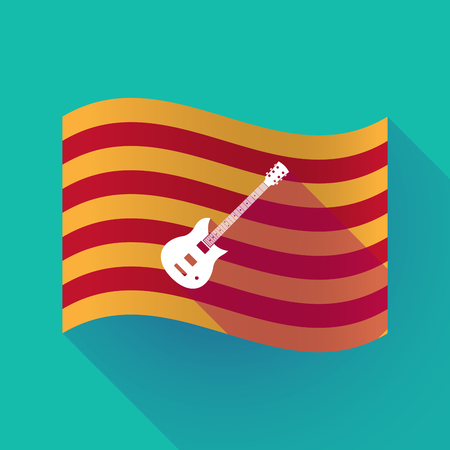 Illustration of a long shadow waving Catalonia flag with  an electric guitar