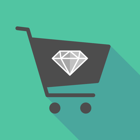 Illustration of a long shadow shopping cart with a diamond