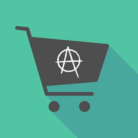 Illustration of a long shadow shopping cart with an anarchy sign Illustration