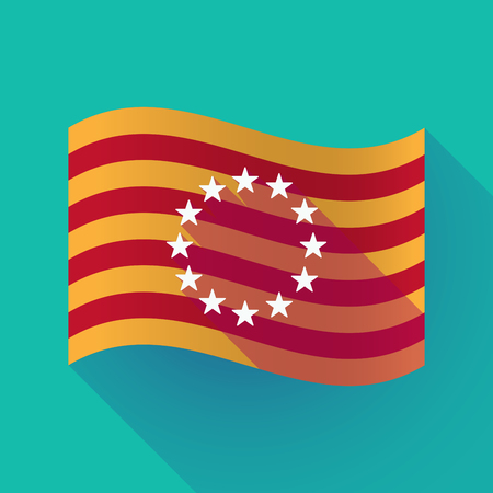 Illustration of a long shadow waving Catalonia flag with  the EU flag stars