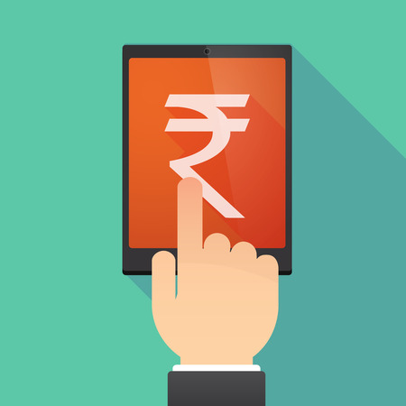 wireless: Illustration of a hand touching a tablet PC with a rupee sign Illustration