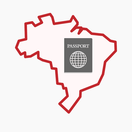 Illustration of an isolated line art Brazil map with  a passport