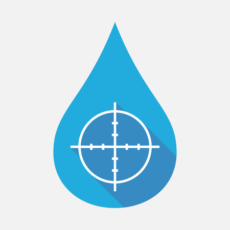 Illustration of an isolated blue water drop with a crosshair