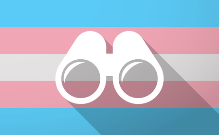 Illustration of a long shadow trans gender flag with a binoculars