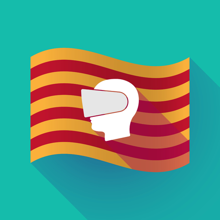 eyewear: Illustration of a long shadow waving Catalonia flag with  a male head wearing a virtual reality headset