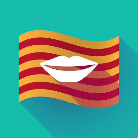 Illustration of a long shadow waving Catalonia flag with  a female mouth smiling