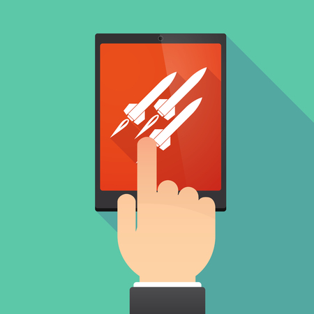 atomic bomb: Illustration of a hand touching a tablet PC with missiles Illustration