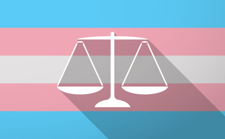 Illustration of a long shadow trans gender flag with a justice weight scale sign Illustration