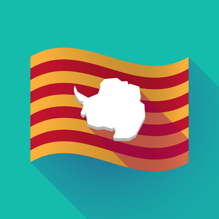 Illustration of a long shadow waving Catalonia flag with  the map of  Antarctica