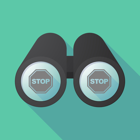 Illustration of a long shadow binoculars with  a stop signal Ilustração
