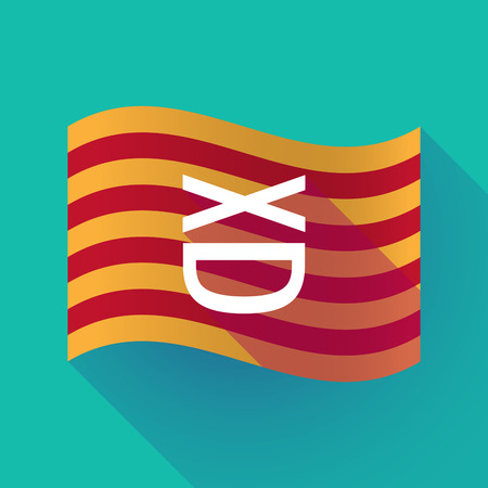 Illustration of a long shadow waving Catalonia flag with   a laughing text face