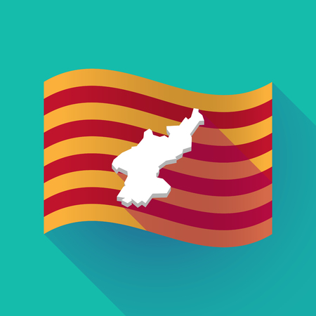 Illustration of a long shadow waving Catalonia flag with  the map of North Korea