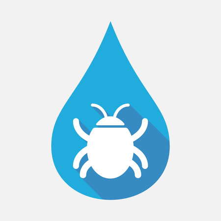 Illustration of an isolated blue water drop with a bug