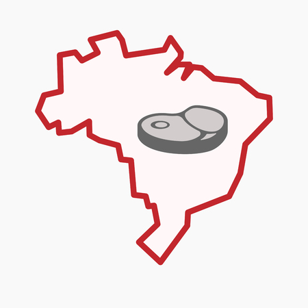 Illustration of an isolated line art Brazil map with  a steak icon
