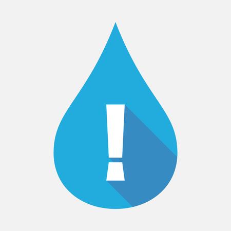 감탄 부호와 격리 된 푸른 물 드롭의 그림