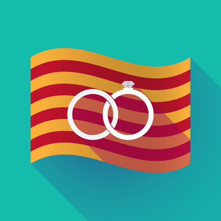 Illustration of a long shadow waving Catalonia flag with