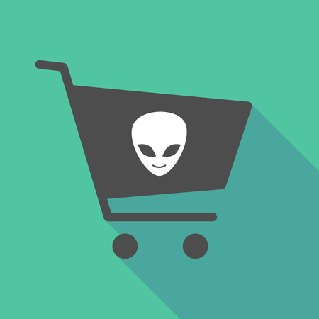 paranormal: Illustration of a long shadow shopping cart with an alien face