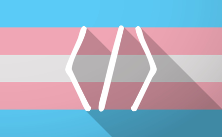 css: Illustration of a long shadow trans gender flag with a code sign