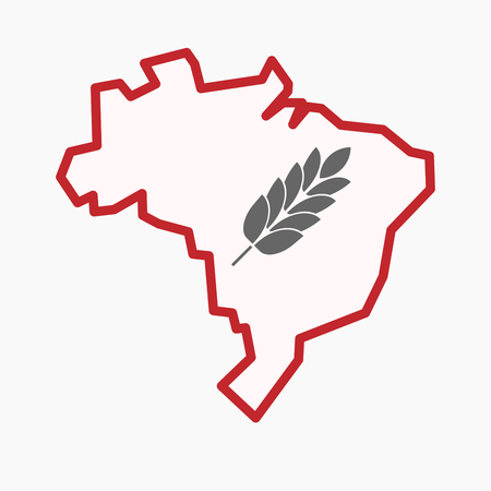 Illustration of an isolated line art Brazil map with  a wheat plant icon Illustration