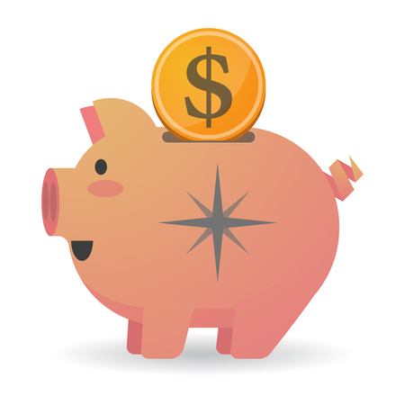 Illustration of an isolated piggy bank with a dollar coin and a sparkle