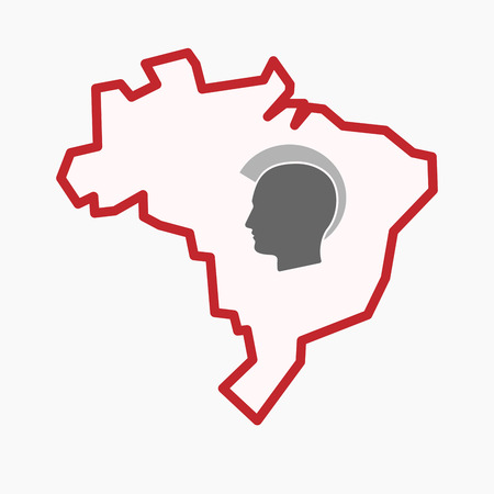 Illustration of an isolated line art Brazil map with  a male punk head silhouette