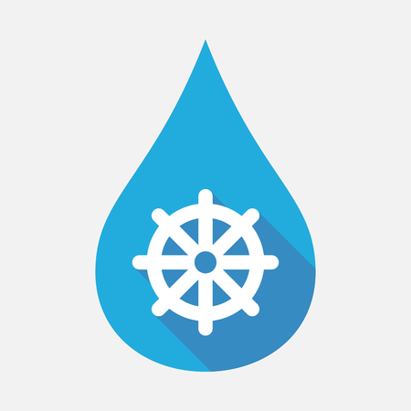 Illustration of an isolated blue water drop with a dharma chakra sign Illustration