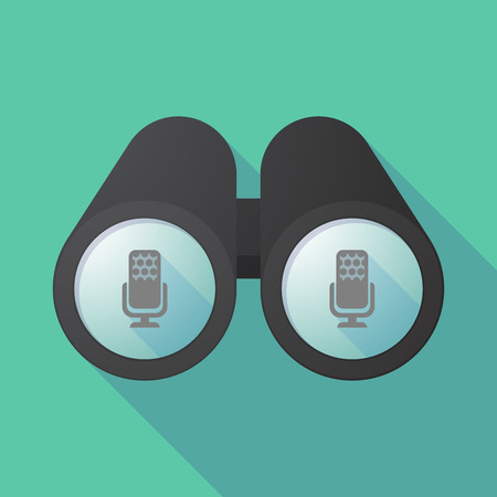 Illustration of a long shadow binoculars with  a microphone sign
