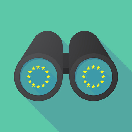 Illustration of a long shadow binoculars with  the EU flag stars Illustration