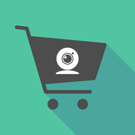 Illustration of a long shadow shopping cart with a web cam