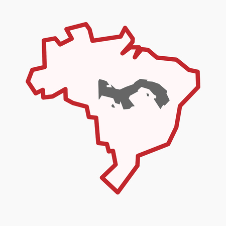 territory: Illustration of an isolated line art Brazil map with  the Panama map Illustration